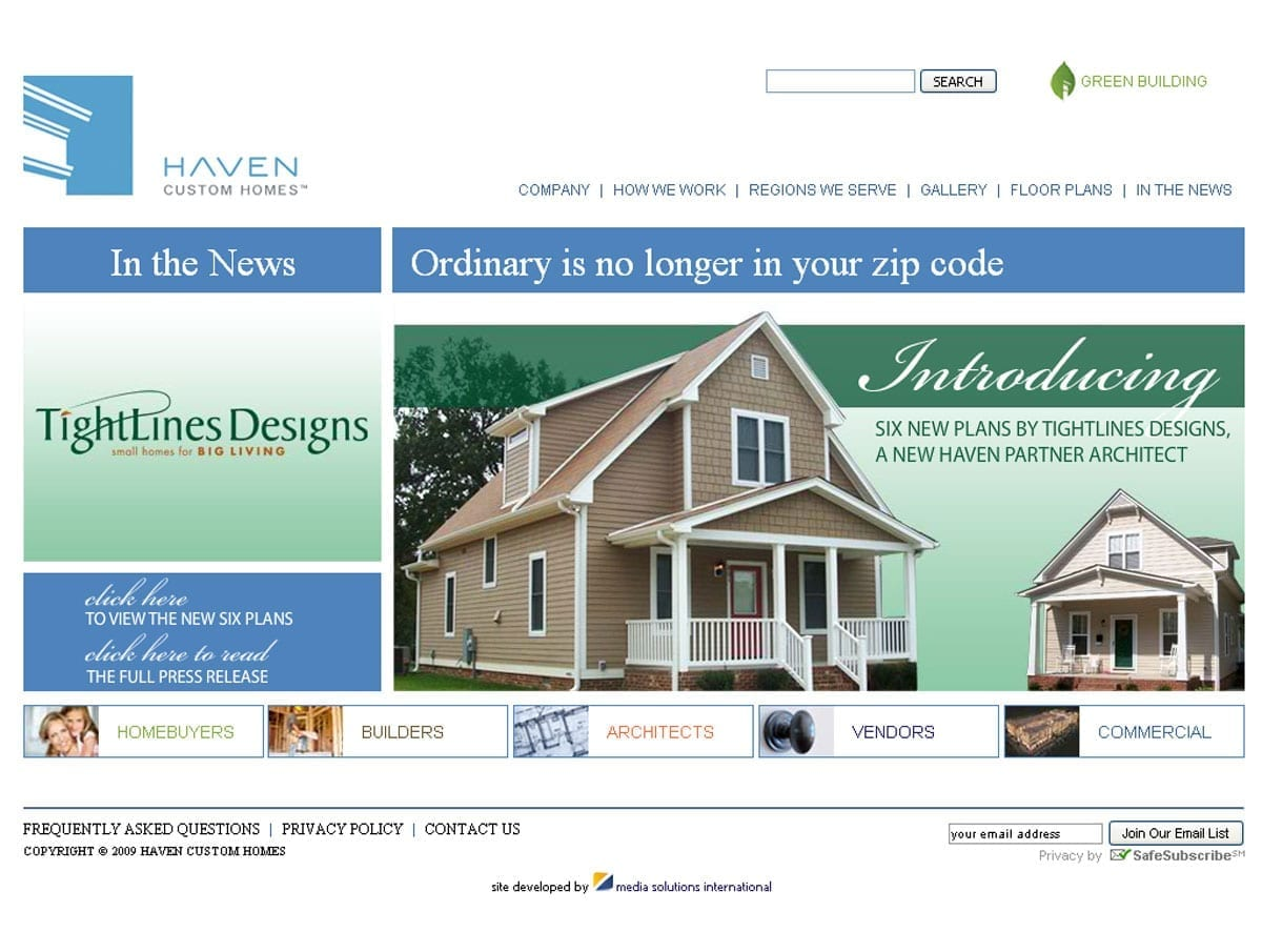 Haven Homes now offering Tightlines Designs homes