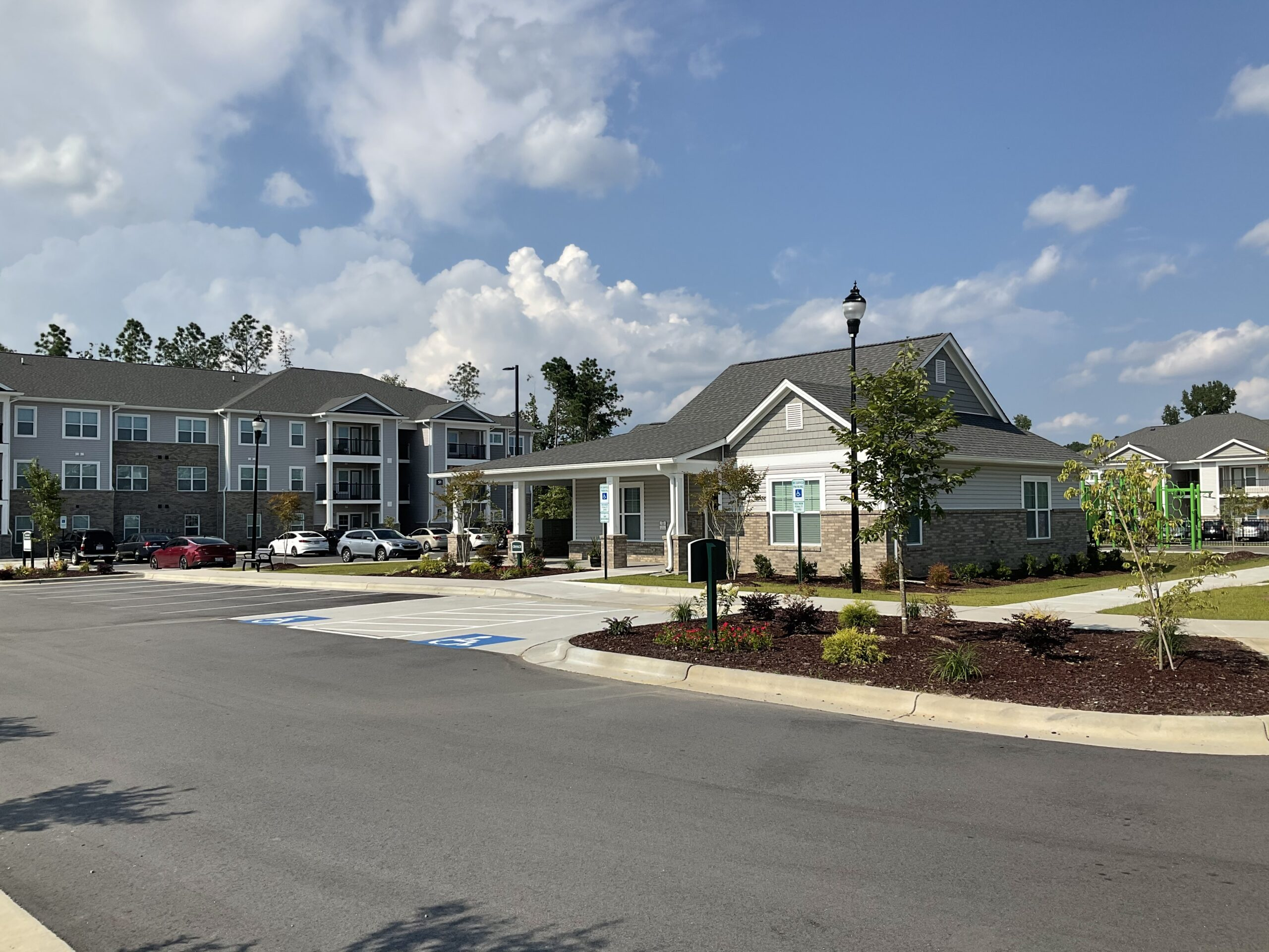 community building and apartments