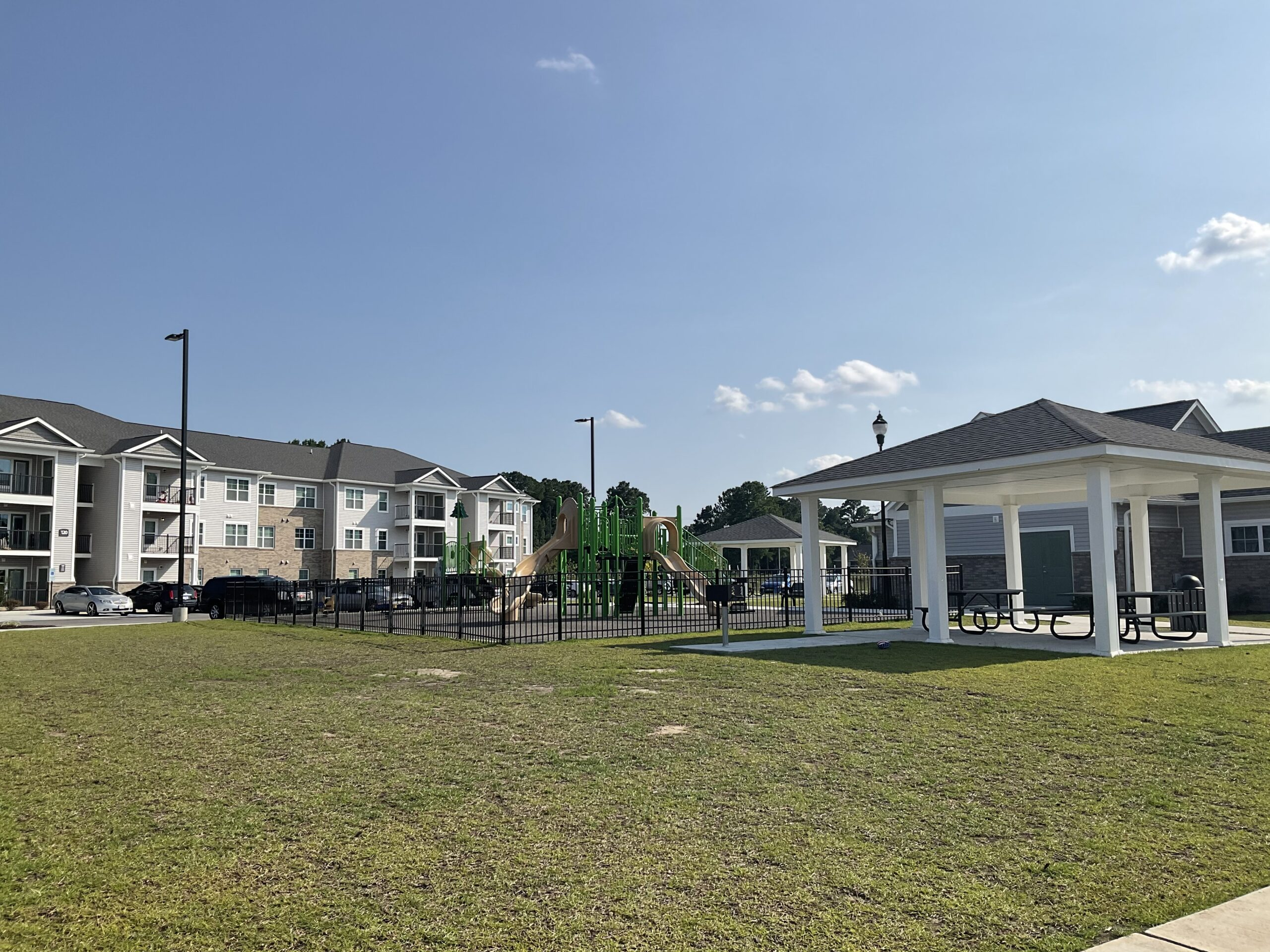 picnic pavilion, playground, and apartments